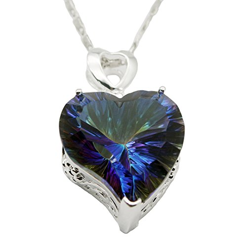 "Silver Heart Shape Pendant Fire Mystic Topaz Chain Necklace 18"" (Fire Blue)"
