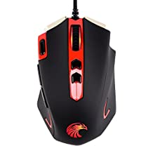 MechanicalEagle Z-7300 4000 DPI LED Optical Programmable Gaming Mouse 8 Programmable Buttons, 5 User Profiles, Weight Tuning, Omron Switches for PC (Black)