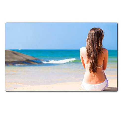 MSD Natural Rubber Large Table Mat IMAGE 26737228 young pretty woman in sunglasses in white bikini sitting on tropical beach with lighthouse in background
