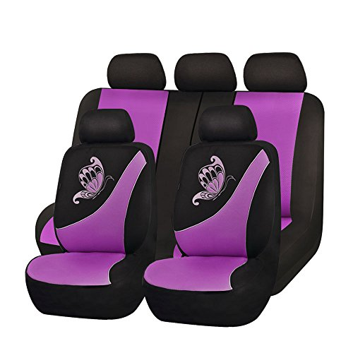Flying Banner Purple Mesh Seat Cover for Trucks Universal Seat Covers for Cars Full Set with Butterfly Embroidery Design (11 Pcs, Purple) -