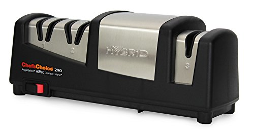 Chef'sChoice 290 AngleSelect Hybrid Diamond Hone Knife Sharpener Combines Electric and Manual Sharpening for Straight and Serrated Knives with Patented Finishing Stage Made in USA, 3-Stage, Black - Edge Select Knife Sharpener