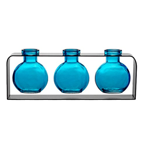 olored Bottles, , Unique Vase G171F Aqua ~ 3 Ball Bottles with Stand ~ Modern Vases, Decorative Accents, Glass Centerpieces, Flower Vases, Bud Vases, (Aqua Glass Ball)