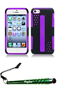 FoxyCase(TM) FREE stylus AND For iPhone 5c - Split Butterfly Kickstand Hybrid Case Cover Protector Purple Black SLST Desire Safe Phone cas couverture