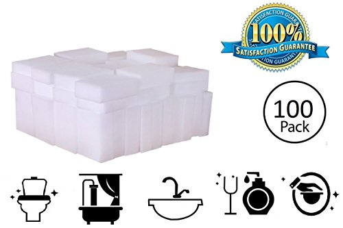 100 Pack Extra Thick Magic Cleaning Sponges - Eraser Sponge For All Surfaces - Double Thickness - Kitchen-Bathroom-Furniture-Leather-Car-Steel - Just Add Water - Melamine - Universal Cleaner