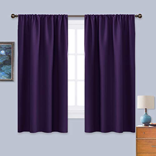 NICETOWN Blackout Curtains for Living Room - Triple Weave Home Decoration Thermal Insulated Solid Rod Pocket Blackout Drapes for Bedroom(Set of 2,42 x 63 Inch,Royal Purple) (Purple Curtain Rod Set)