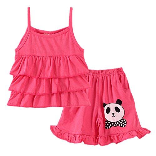 [LittleSpring Baby Girls' Short Set Sleeveless Panda Size 6M(Asian 90) Rose-red] (Panda Outfits For Babies)