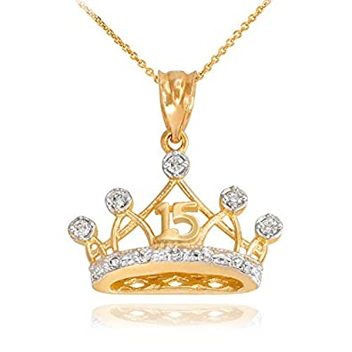 bd6ab653c Sweet 15 Años Quinceanera Crown Pendant Necklace with Cubic Zirconia in 10k  Yellow Gold