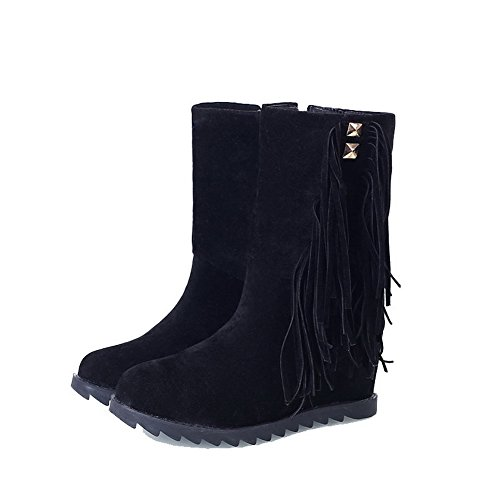 Allhqfashion Women's Imitated Suede Low-Top Solid Zipper High Heels Boots Black TLSoXvE