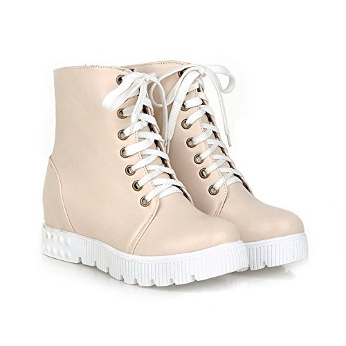 AllhqFashion Womens Lace Up Round Closed Toe Kitten Heels Pu Low Top Boots Beige WB4xMgW