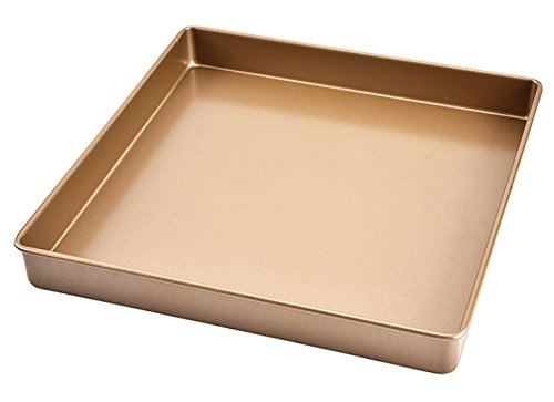 Non-Stick Cooking Baking Sheet Golden 11x11 in Square Bakeware Cake Mould Biscuit Nougat Cookie Sheet Baking Tray Jelly Roll Pan Healthy & Non-Toxic, Rust Free & Mirror Finish, Easy Clean & Dishwasher