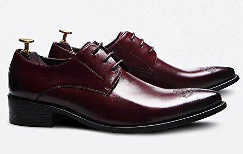Happyshop (tm) Zapatos De Cuero Para Hombre De Estilo Británico Oxfords Derbies Zapatos De Vestir Con Cordones Zapatos De Boda Rojo Vino (25829)