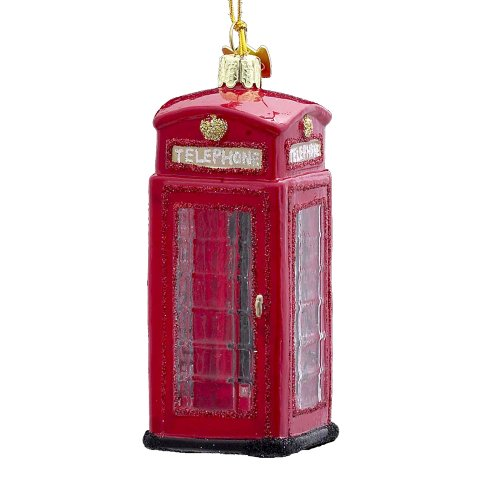Noble Gems Kurt Adler 4-Inch Glass British Phone Booth Ornament