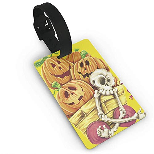 Luggage Tags Holders for Travel Luggage,Luggage Tags for Suitcases, Luggage Tags with Genuine Hand Strap Halloween Skull and Pumpkins Travel Suitcase Bag Tag Identify Label White ()