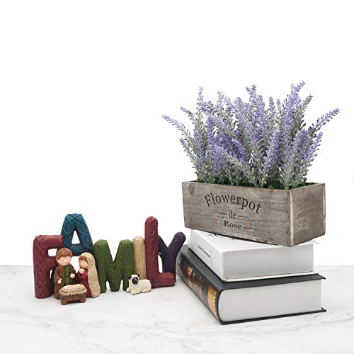 Velener Artificial Flower Potted Lavender Plant for Home Decor (Wooden Tray)