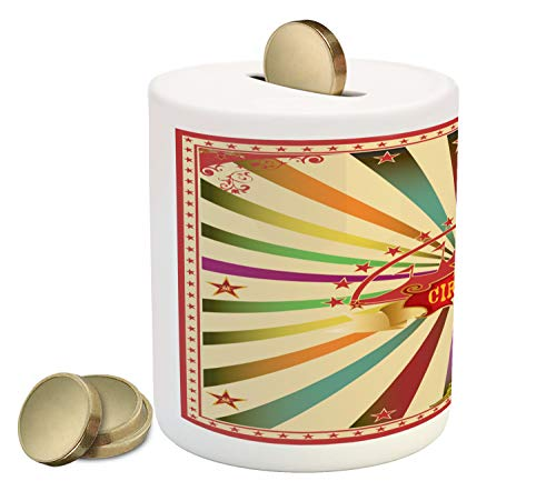 Ambesonne Circus Piggy Bank, Colorful Retro Circus Invitation or Advertisement for Audience with Tent Silhouette, Printed Ceramic Coin Bank Money Box for Cash Saving, -