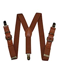 Kids Suspenders Brown Leather Y-Strap Braces Boys Toddler Suspenders for Pants