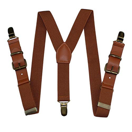 Y-sharp Pants Suspenders Boys, Yienws Brown 3 Clasp Strap Braces Suspenders for Children Kids Adjustable Patch Leather Suspenders
