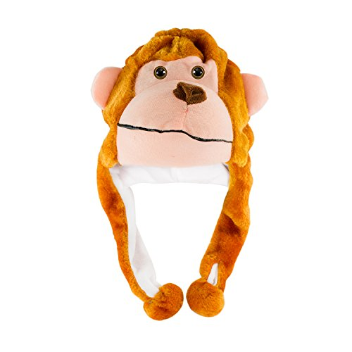 Monkey Cute Polyester Plush Zoo Animal Winter Hat Beanie Aviator Style (Male Jungle Costume)