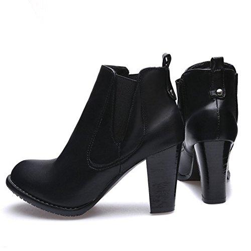 RAZAMAZA Women Comfort Block High Heel Pull on Chelsea Boots SM Black 5aVCwcCWL