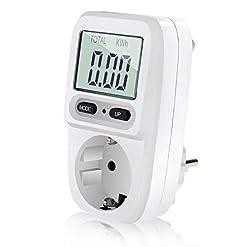Zaeel Misuratore di potenza Contatore del consumo di corrente, Misuratore di consumo Dell'Energia Elettrica con schermo LCD, Misuratore dei costi energetici potenza massima 3680W