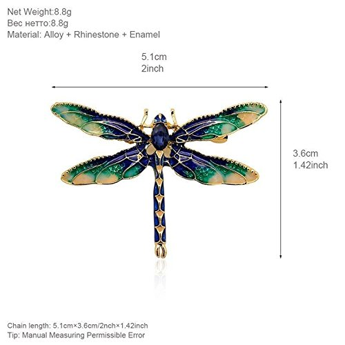 patcharin shop Fashion Women Rhinestone Enamel Green Dragonfly Animal Brooch Pin Gift Jewelry