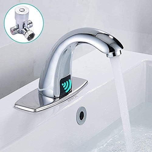 Automatische Sensor Touchless Waschbecken Wasserhahn mit Loch-Abdeckung Platte, Chrom Vanity-Hähne, Freihändige Badezimmer Wasserhahn mit Steuerkasten und Temperatur Mixern küche armatur ausziehbar dm