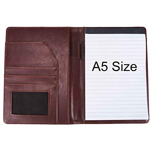 (Document Organizer Padfolio Resume Portfolio Folder Clipboard Pad Holder Letter Size A5 with Writing Notepad Business Card Holder for School Office Interview (Brown-A5 Size))
