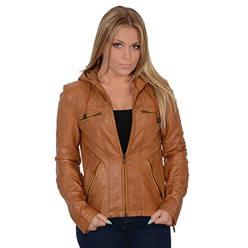 - Milwaukee Leather Women's Hooded Scuba Jacket With Draw String (Cognac, Small)