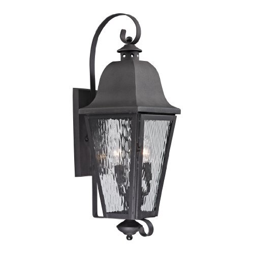 Elk Lighting 47102/3 Forged Brookridge Collection 3 Light Outdoor Sconce, Charcoal ()