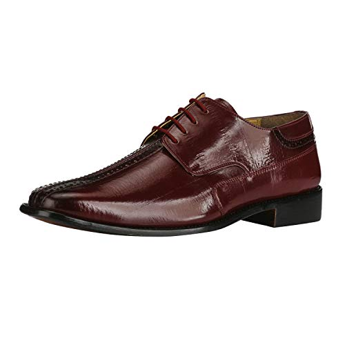 Liberty Men's Oxford Dress Shoes Burnished Toe EEL Print | PU Leather | Lace up