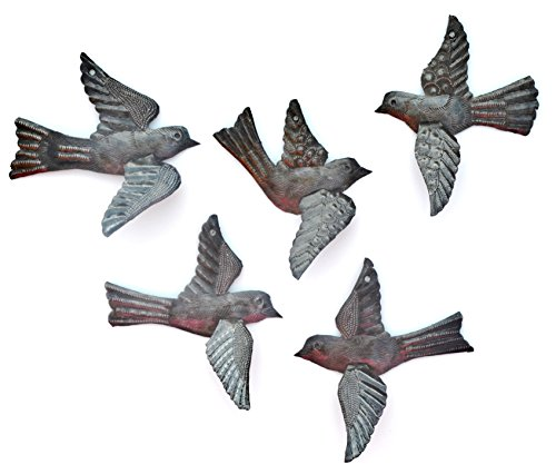 "Haitian Birds Recycled Steel Drum Art 3-d Wings (Set of 5), Haitian Bird Art 5"" x 4.5"""