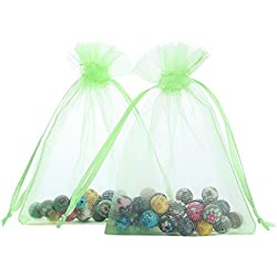 Anleolife 50pcs Sheer Favor Bags Organza Bridal Favor Card Candy Jewelry Organizer Bags Holiday Packages Organza Pouch Drawable Gift Bags Party Favors Bags 11x9cm/4.53.5'' (green)