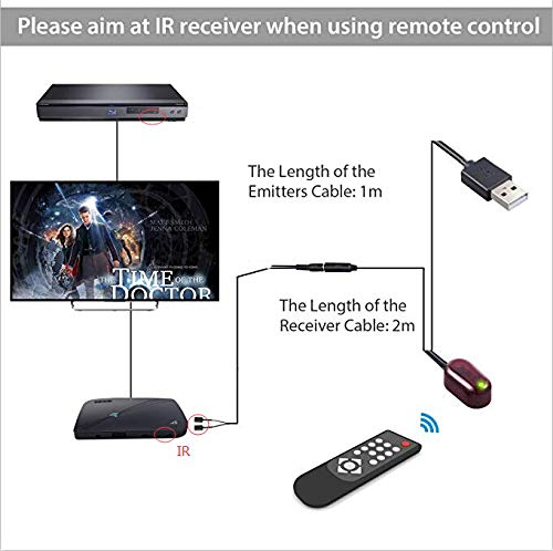 Infrared Remote Control Extender Repeater Hidden IR Repeater System with 1 Emitters 1 Receiver Sumnacon USB IR Repeater 1 Emitters 1 Receiver