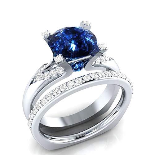 (WUAI Fashion Women Rings Round Cut Luxury Diamond White Sapphire Wedding Engagement Ring Ladies Gifts Ideas)