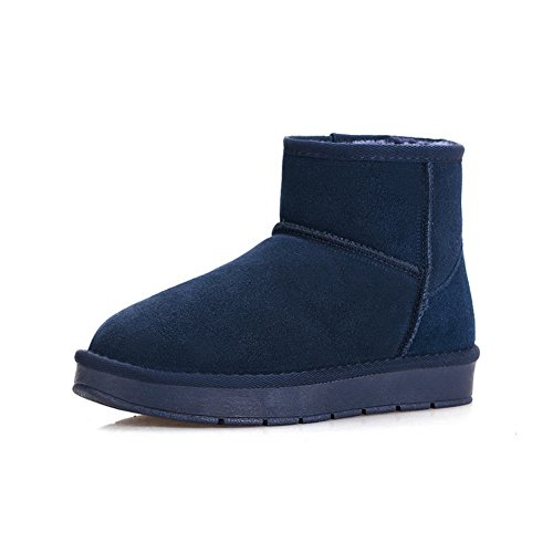 1TO9 Womens No-Closure Boots Solid Blue Leather Boots - 3.5 UK 2X9iGYTqIM