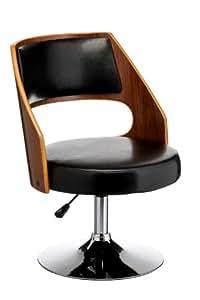 Premier Housewares - Silla de bar (nogal y piel sintética, altura ajustable, 73 a 83 x 51 x 52 cm), color negro