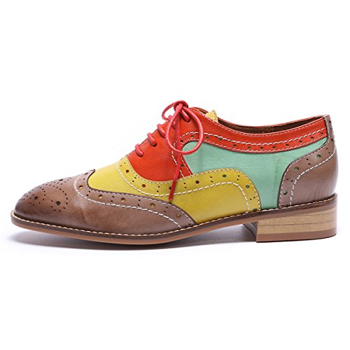 Perforated up Wingtip Coffee Brougue Shoes Oxfords Mona Multicolor Shoes Leather Lace Women red Women's Flying qUZxwzXt
