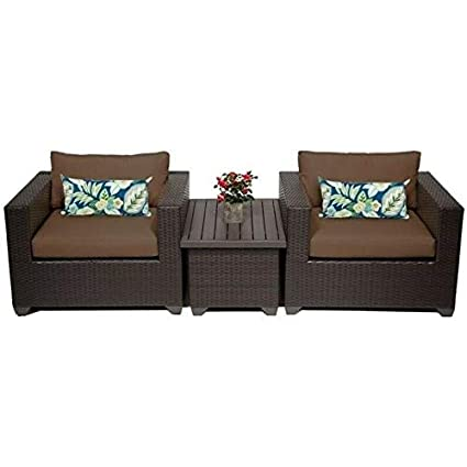 Pleasing Amazon Com Jumpinglight Tkc Belle 3 Piece Outdoor Wicker Andrewgaddart Wooden Chair Designs For Living Room Andrewgaddartcom
