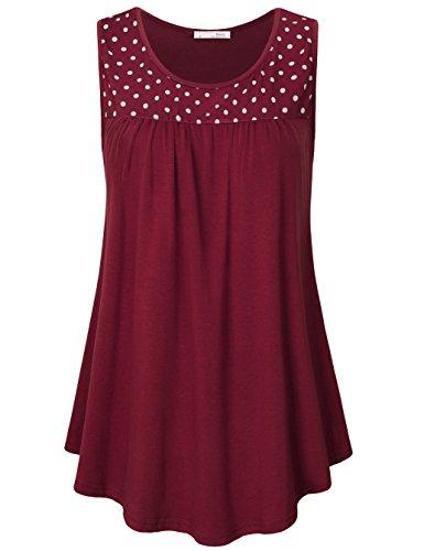 Messic A Line Tank Top, Ladies Womens Sleeveless Polka Dot Comfy Plus Size Tunic Tank Top(Wine,XX-Large)