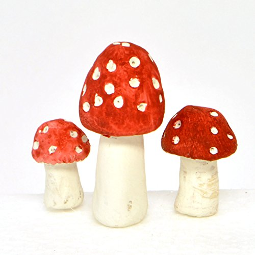 Miniature Fairy Garden Polka Dot Mushrooms, Set of 3