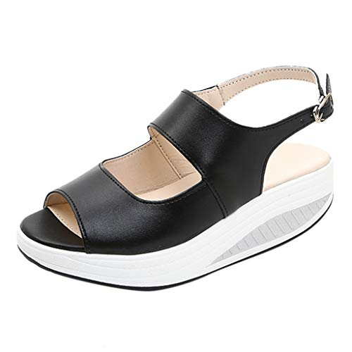 JJHAEVDY Women's Open Toe Flatform Wedge Sandals Cutout Slingback Ankle Strap Buckle Casual Sandals Comfortable Non-Slip ()
