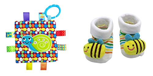 New Cute Baby Honey Bee Socks & Little Taggie Snail Blanket Theme 2-Pack 3-12 Months w/Gift Box ()