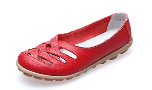 Red Leather Flats Shoes - 2