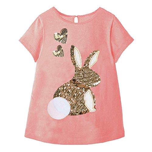 VIKITA Little Girls Cotton Sequins Flower Print Short Sleeve Tshirt Top S3925 3T