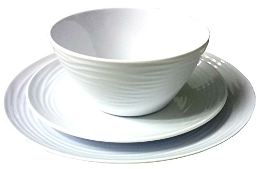 Parhoma White Melamine Plastic Home Dinnerware Set, 12-Piece Service for 4 - 12-piece round dinner set includes 4 dinner plates, 4 bread, and butter plates and 4 soup and salad bowls 100% Melamine material provides durability to resist chip, crack, and break. Melamine is a hard PLASTIC that can stand up to the rigors of everyday use. Safe and Easy Use - BPA Free, Dishwasher Safe, Stain Resistance, Heat Resistance up to 212° Fahrenheit temperature. Melamine dinnerware used in the MICROWAVE is NOT recommended. - kitchen-tabletop, kitchen-dining-room, dinnerware-sets - 4199EoqBCSL -