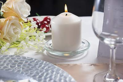 Juvale Pillar Candle Holder Plates - 12-Pack 4-inch Basic Round Glass Pillar Candle Holders Wedding, Spa, Home, Party Decoration, Clear, 4 inches in Diameter