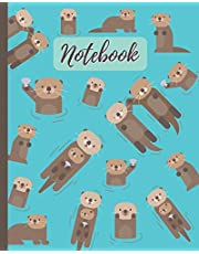 """Notebook: Cute Otters Cartoon Cover - Lined Notebook, Diary, Track, Log & Journal - Gift for Boys Girls Teens Men Women (8""""x10"""" 120 Pages)"""