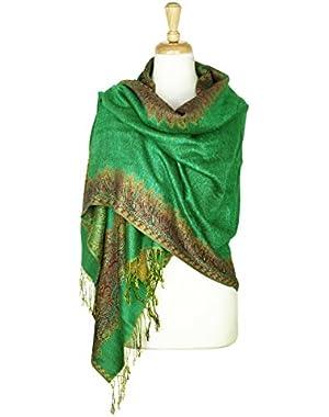 Border Pattern Double Layered Reversible Woven Pashmina Shawl Scarf Wrap Stole