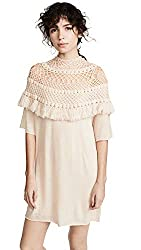 Ryan Roche Women S Cashmere Crochet Dress Ivory Off White Large