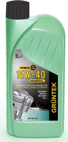 Olio Power G 15W40 Mineral 1L lubrificante auto GRUNTEK 8866